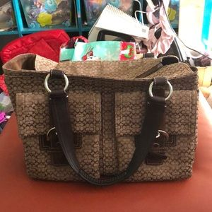 COACH Signature Khaki/Brown & Suede Tote
